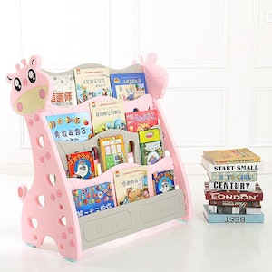 All 4 Kids Children Giraffe Bookcase Magazine Bookshelf - Pink