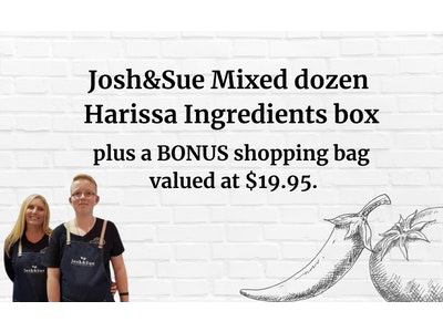 Josh&Sue mixed HARISSA 12 PACK plus a BONUS SHOPPING BAG valued at $19.95.