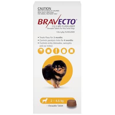 BRAVECTO Dog 3 Month Chew Tick & Flea Treatment 2.4-5kg Extra Small Yellow