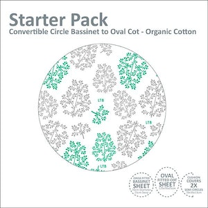 Linen Starter Pack: Circle Bassinet to Oval Cot (ORGANIC COTTON JERSEY): GREEN & GREY LEAVES