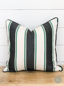 Outdoor Cushion Cover - Cabana Stripe with black piping