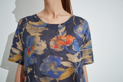 Tirelli - Relaxed Gather Top - Navy Bloom