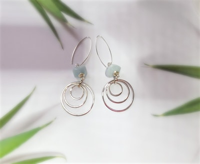 Uniqu-Lea Yours Beautiful Aquamarine and Sterling Silver Earrings