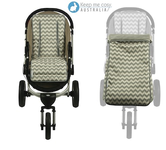Keep Me Cosy™ Pram Liner + Footmuff 2 in 1 Set (Toddler Size) - Grey Chevron