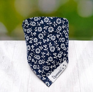 Queenie's Pawprints Navy series - LIMITED EDITION Eco Bandana - Through Collar Fit