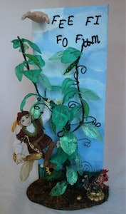 Bambole Designs JACK and the BEANSTALK scene with Art Doll on Canvas