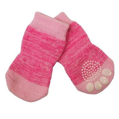 Zeez Non-Slip Sole Knitted Dog Socks Pink Set of 4 - 4 Sizes