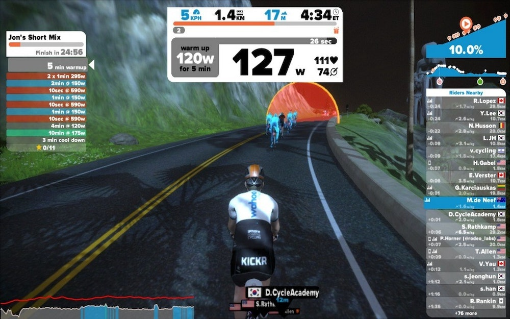Zwift doing a workout