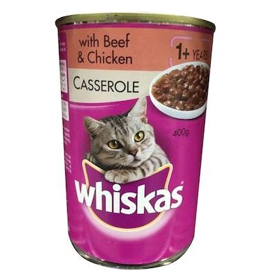 Whiskas Wet Cat Food Casserole w/ Beef & Chicken 24 x 400g