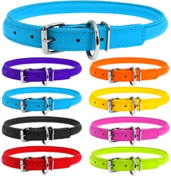 WauDog by the Collar Company WAUDOG |Round Leather Dog Collar Size width 8mm -Length 33-41cm