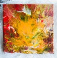 Original Paint Poured Artwork-Fire Flight