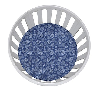 CIRCLE Bassinet Fitted Sheet Woven Cotton: NAVY WITH GREY & WHITE LEAVES