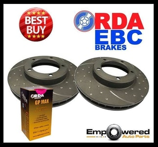 DIMPLED SLOTTED FRONT DISC BRAKE ROTORS+PADS for Hyundai Excel HA3 1.5L 1998-on