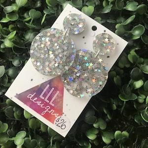 Holographic Star Confetti Dangle Earrings.