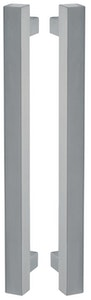Nova Hardware Back to Back 30mm x 30mm square pull handles with round standoffs 600mm long in SSS finish (Made to order)