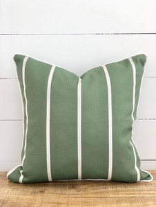 Outdoor Cushion Cover - Sage and White Stripe with White Piping