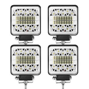 LIGHTFOX LIGHTFOX 4x 4inch CREE LED Work Light Square Spot Flood Reverse Driving Lamp OffRoad 4x4