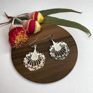 Gum blossom silver hook earrings