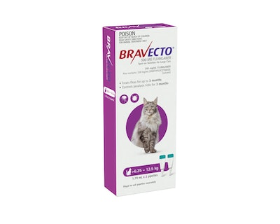 BRAVECTO Spot On for Cats 6.25 -12.5kg 2 Pack Purple
