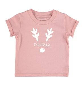 Personalised Reindeer Name Tee - Blush Pink