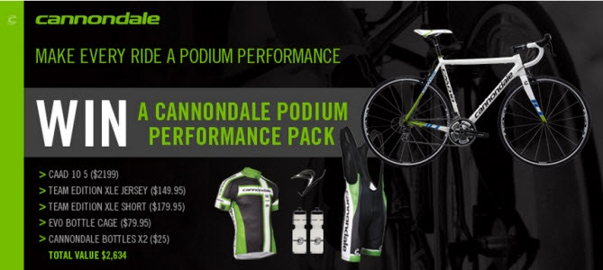 Congratulations to the Winner of a Cannondale Pack worth $2,634!