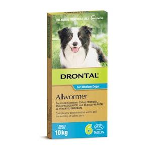 Drontal Allwormer Dog Medium 10kg Tablets