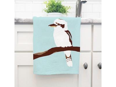 Kiki the Kookaburra Art Tea Towel in 100% Linen