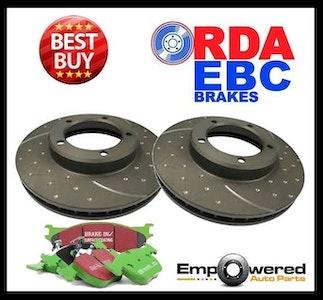 DIMPLED SLOTTED REAR DISC BRAKE ROTORS+PADS for Toyota Landcruiser VDJ200 4.5TTD