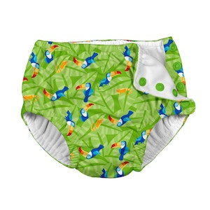 i play. Tropical Snap Reusable Absorbent Swimsuit Diaper-Lime Toucan