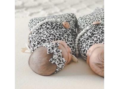 Marli & Me™ Bamboo Jersey Swaddle + Headband Set | Rory Leopard