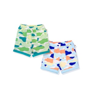 OETEO Australia Camo Flash Toddler Casual Shorts 2-Piece Bundle (Blue/Green)