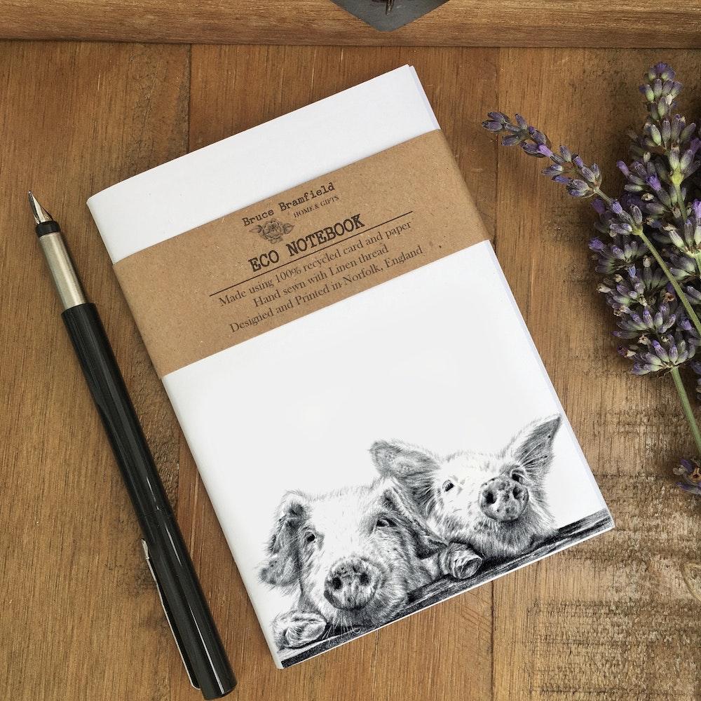 Bruce Bramfield Piggies Eco Notebook (white Cover)