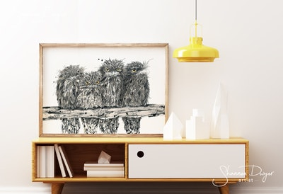 Just Chillin', Tawny Frogmouths Art Print