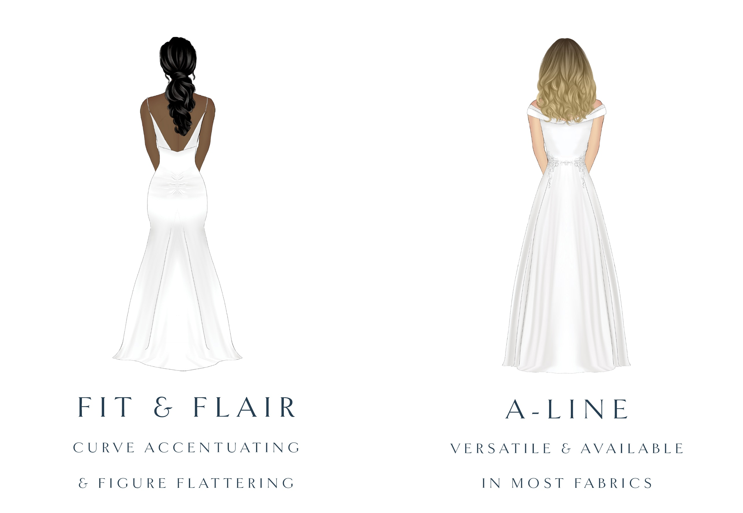 drop waist and mermaid wedding dress silhouette