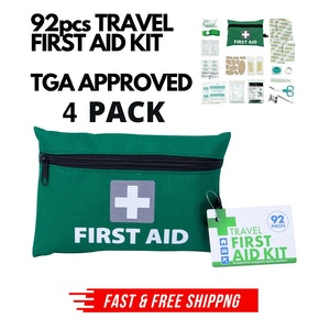 4x 92pcs TRAVEL FIRST AID KIT Medical Workplace Set Emergency Family Safety Office