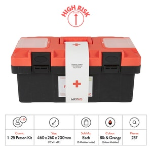 Mediq Incident Ready First-Aid Kit - Plastic Tackle Box (High Risk)