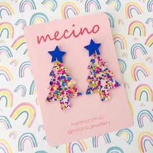 Oh Christmas Tree - Lux Blue Mix Christmas Acrylic Earrings