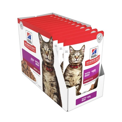 Hills Science Diet Feline Adult Optimal Care Beef Cat Food Pouches 85Gx12