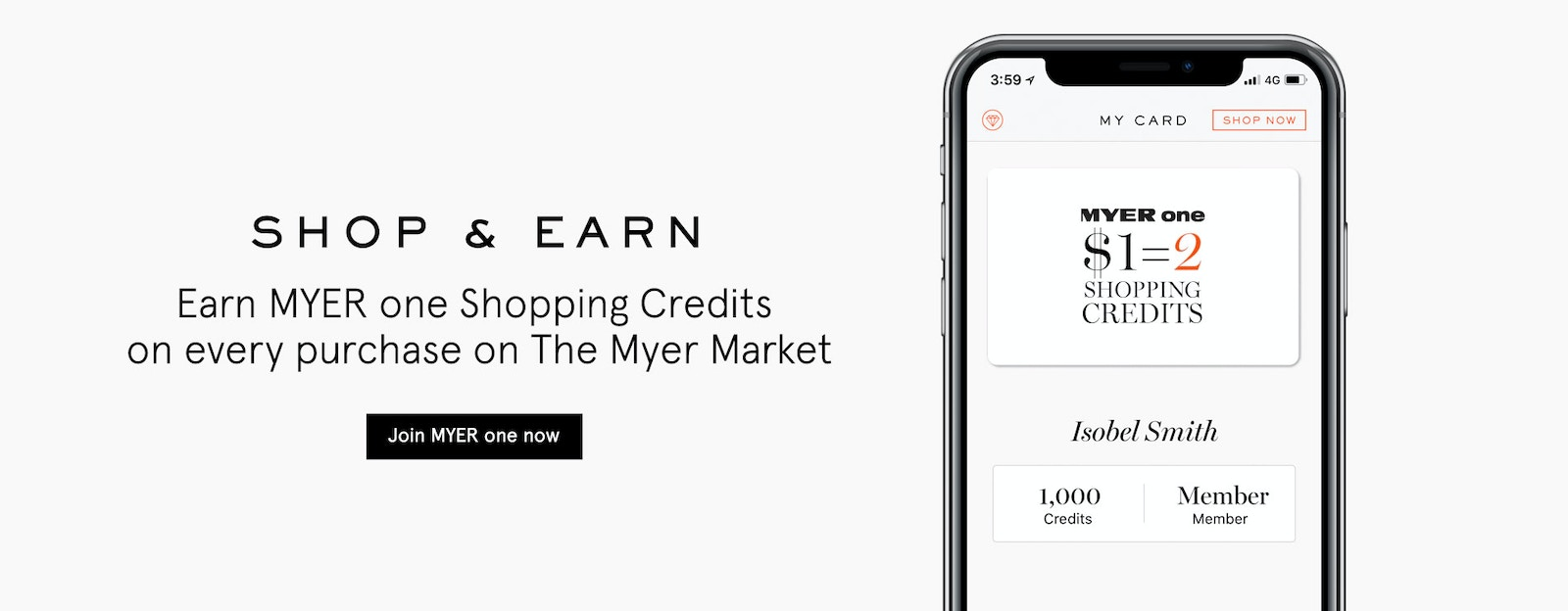 Earn MYER one Shopping Credits