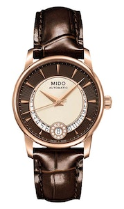 Mido Baroncelli Diamonds - Stainless Steel with Rose Gold PVD Coating - Brown Leather Strap