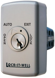 Lock-It-Well 4 position key switch for automatic door in silver finish