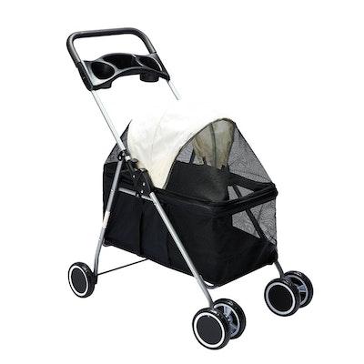 House of Pets Delight Pet Stroller Travel 4 Wheels Black