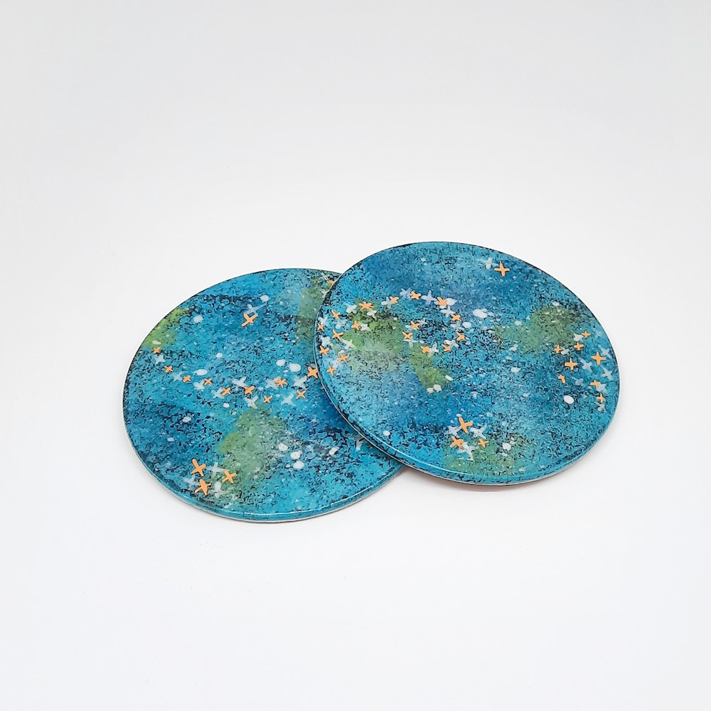 Lauren Michelle Designs  Set Of 2 Turquoise Galaxy Drinks Coasters
