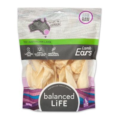 BALANCED LIFE Air Dried Raw Lamb Ears Dog Chew Treat - 2 Sizes