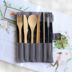 Ekoroo 6pc Reusable Cutlery Set - Charcoal
