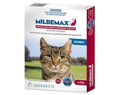 Milbemax Allwormer >2kg Cat 2 Pack