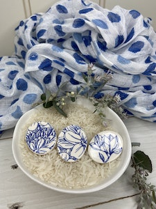Blue and White Floral Oval Brooch