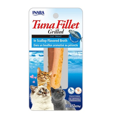 INABA Tuna Fillet Grilled Cat Treat in Scallop Flavored Broth 6 x 15g