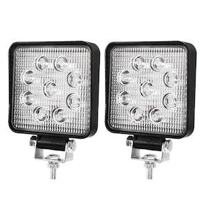LIGHTFOX LIGHTFOX 2x 4inch CREE LED Work Lights Flood Beam Square Fog Lamp Reverse Offroad 4WD