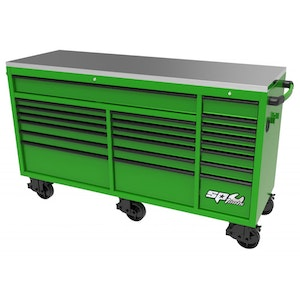 """Roller Cabinet Wide 21 Drawer 73"""" USA Sumo Series GREEN/BLACK SP44825G"""
